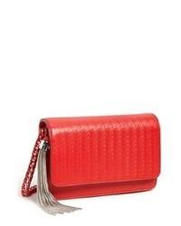 Red Print Leather Crossbody Bag