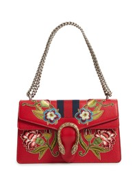 Red Print Leather Satchel Bag