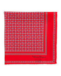 Salvatore Ferragamo Gancini Flower Pocket Square Red