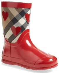 Burberry Ranmoor Heart Print Rain Boot