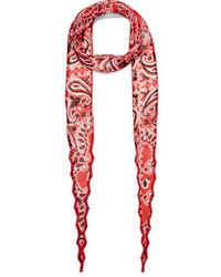 Chan Luu Bead Embellished Printed Georgette Scarf Red
