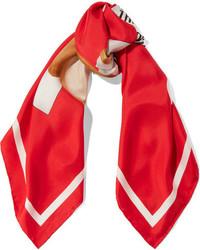 Moschino Printed Silk Twill Scarf Red