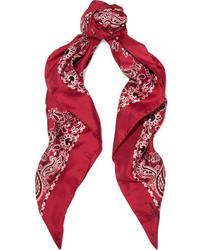 Saint Laurent Printed Silk Twill Scarf Red