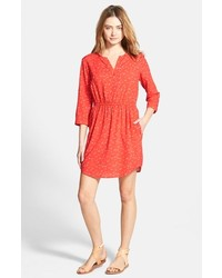Red Print Shirtdress