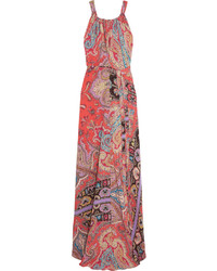 Red Print Silk Maxi Dress