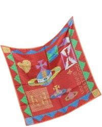 Red Print Silk Scarf