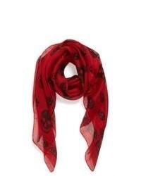 Skull print silk chiffon scarf medium 45825