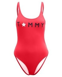 Tommy Hilfiger Iconic High Cut Swimsuit Red