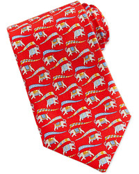 Salvatore Ferragamo Large Elephant Print Tie Bluered