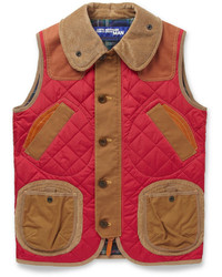 Junya Watanabe Quilted Nylon Corduroy And Leather Gilet