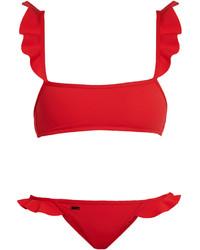 Fendi Rouches Ruffle Trimmed Bikini