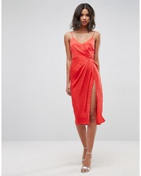 Asos Hammered Satin Strappy Pencil Midi Dress