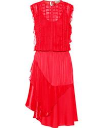 Mercer embroidered satin and chiffon dress medium 140886