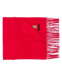 Moschino Logo Embroidered Fringed Scarf