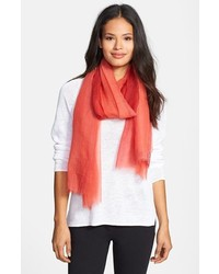 Eileen Fisher Ombre Featherweight Wool Scarf Red Lory One Size