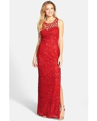 Red Sequin Evening Dress
