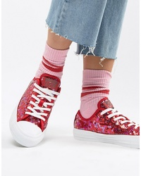 Converse Chuck Taylor Ox Red Sequined Trainerscherry