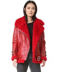 Velocite shearling moto jacket medium 828832