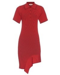 Stella McCartney Cutaway Hem Ribbed Knit Polo Shirtdress