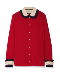Gucci Color Block Ruffled Silk Blouse
