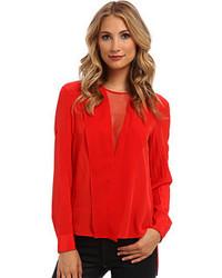 Red Silk Long Sleeve Blouse