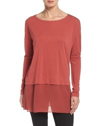 Eileen Fisher Petite Boxy Stretch Silk Jersey Tunic