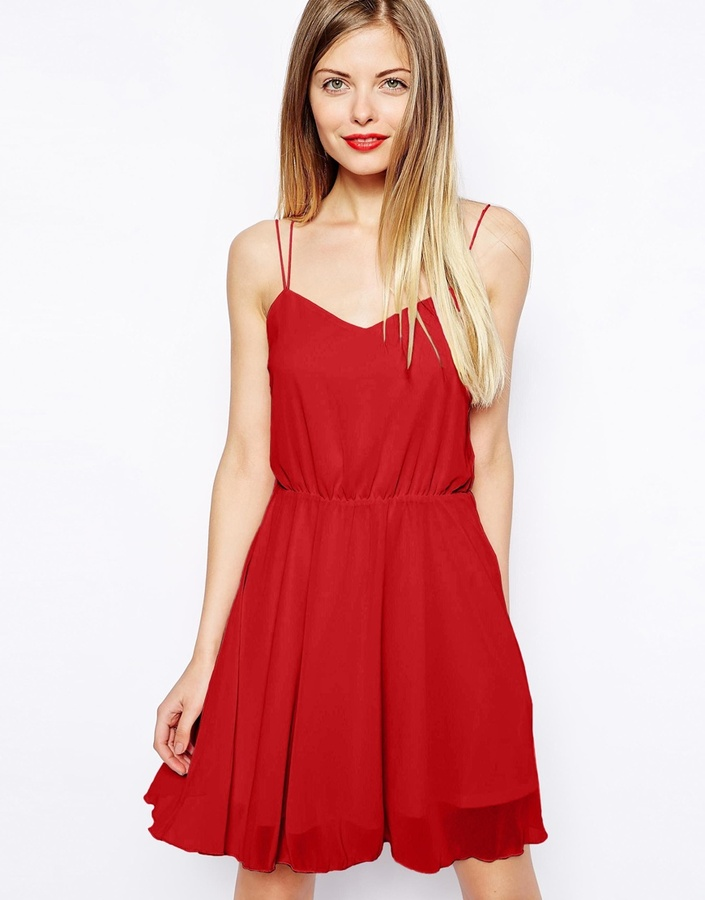 55787405bc ... Dresses Asos Chiffon Cami Skater Dress ...