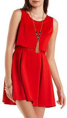690339b180 Layered Skater Dress With Lace. Red Skater Dress by Charlotte Russe
