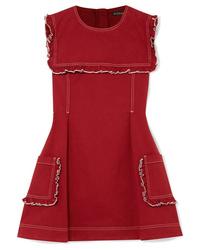 ALEXACHUNG Sailor Ruffled Stretch Denim Mini Dress