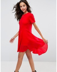 Asos Skater T Shirt Dress With Woven Cotton Hem