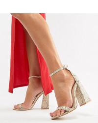 Public Desire Tess Snake Block Heeled Sandals