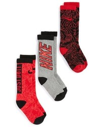 Nike Boys 3 Pack Cushioned Crew Socks