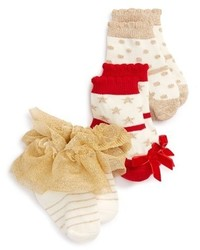 Mud Pie Infant Girls 3 Pack Sparkle Socks