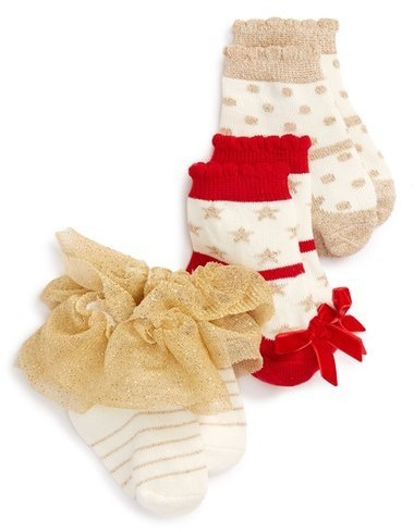 Mud Pie Infant Girls 3 Pack Sparkle Socks