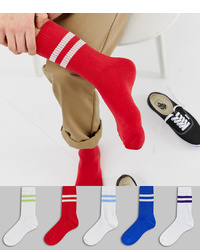ASOS DESIGN Sports Socks In White And Brights 5 Pack