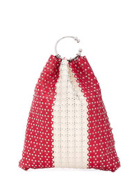 RED Valentino Red Studded Bucket Tote
