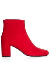 Saint Laurent Babies Block Heel Suede Ankle Boots