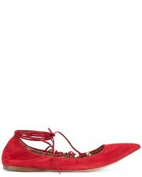 Valentino Garavani Rockstud Lace Up Ballerinas