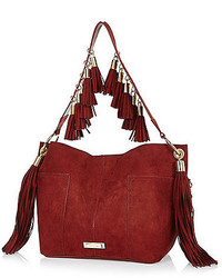 Red Suede Bucket Bag