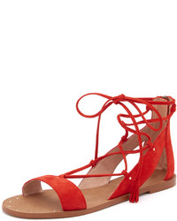 Red Suede Flat Sandals