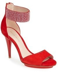 Red Suede Heeled Sandals
