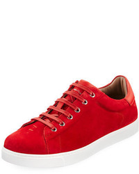 Red Suede Low Top Sneakers