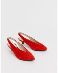 Vagabond Minna Tangerine Suede Pointed Kitten Heel Shoes