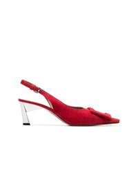 Marni Red 60 Suede Leather Slingback Pumps