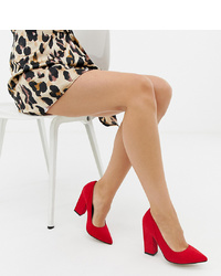 ASOS DESIGN Wide Fit Washington Block Heeled Court Shoes In Red