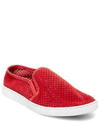 Red Suede Slip-on Sneakers