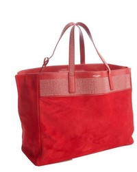 Red Suede Tote Bag