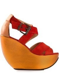 Red Suede Wedge Sandals