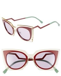Fendi 49mm Cat Eye Sunglasses Beige Red Burgundy