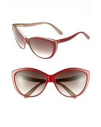 Alexander McQueen 61mm Two Tone Cat Eye Sunglasses Red Nude One Size